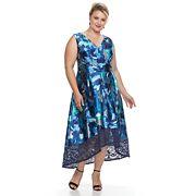 Plus Size Chaya Floral Lace Hem Midi Dress