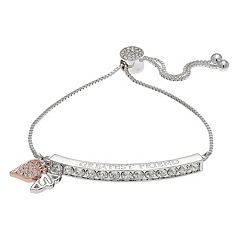 Brilliance Two Tone 'Greatest Friend' Bolo Bracelet with Swarovski Crystals