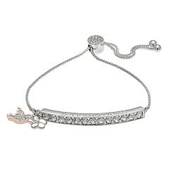 Brilliance Two Tone 'Love & Happiness' Bolo Bracelet with Swarovski Crystals