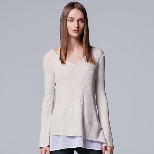 Women's Simply Vera Vera Wang Asymmetrical Mock-Layer Ribbed Top