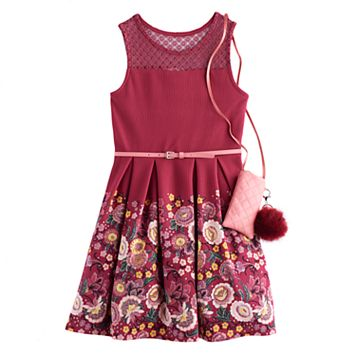 Girls 7-16 Knitworks Belted Floral Textured Skater Dress with Crossbody Purse