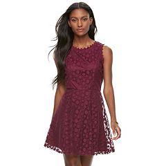 Juniors' Lily Rose Mesh Dot Skater Dress