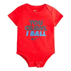 Baby Boy Nike 'You Crawl I Ball' Logo Bodysuit