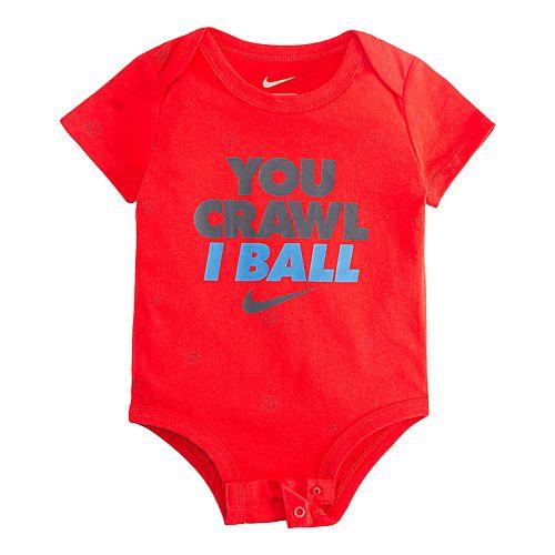 "Baby Boy Nike ""You Crawl I Ball"" Logo Bodysuit"