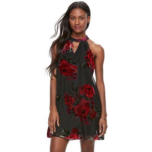 Juniors' Lily Rose Floral Choker Neck Halter Dress