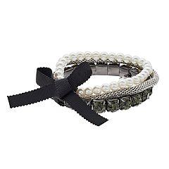 Simply Vera Vera Wang Simulated Pearl & Crystal Stretch Bracelet Set