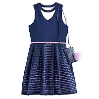 Girls 7-16 & Knitworks Belted Burnout Skater Dress with Crossbody Purse
