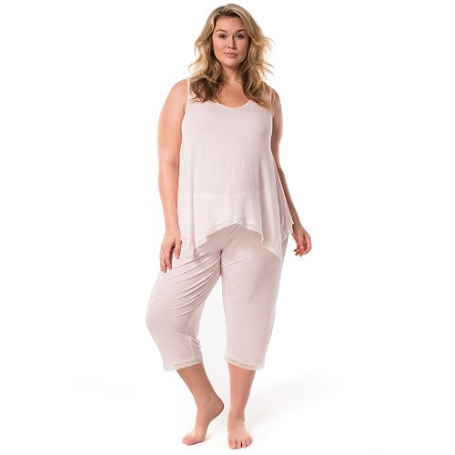 8984c9eb3c4 Plus Size Maternity Pip   Vine by Rosie Pope Lace Trim Tank   Capri Sleep  Set