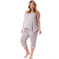 Plus Size Maternity Pip & Vine by Rosie Pope Lace Trim Tank & Capri Sleep Set