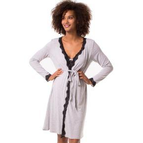 Plus Size Maternity Pip & Vine by Rosie Pope Nursing Slip & Robe Set