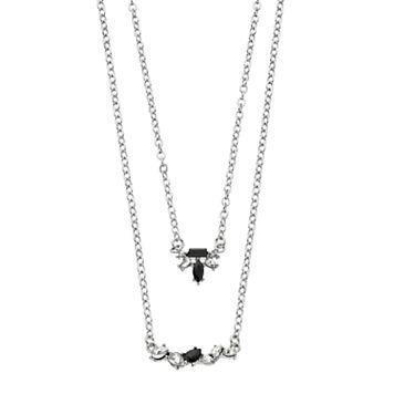 LC Lauren Conrad Stone Cluster Bar Double Strand Necklace