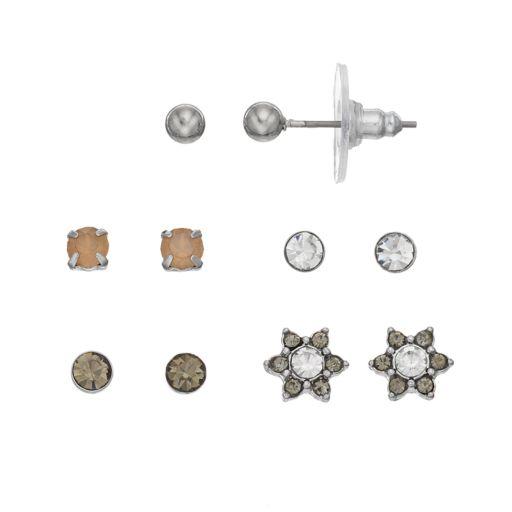 LC Lauren Conrad Starburst & Solitaire Nickel Free Stud Earring Set