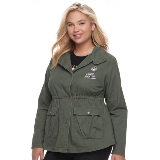 Juniors' Plus Size Her Universe Star Wars Patched Anorak Military Jacket