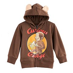 Toddler Boy Curious George 3D Ears Zip Hoodie