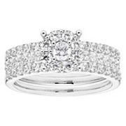 Lovemark 10k White Gold 1 Carat T.W. Diamond Halo Engagement Ring Set