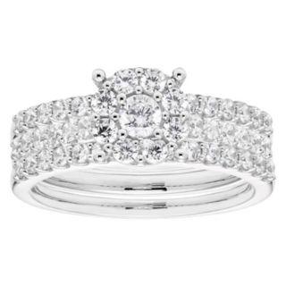 Lovemark 10k White Gold 1 Carat T.W. Diamond Halo Engagement Ring Set
