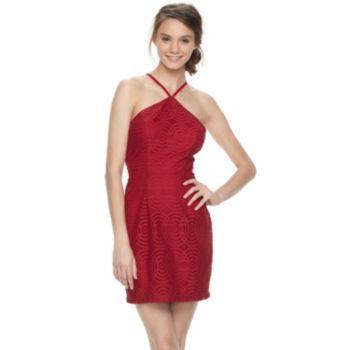 Juniors' Speechless Geometric Lace Halter Dress