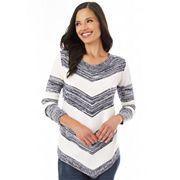 Women's Apt. 9® Mitered Stripe Crewneck Sweater