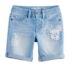 Girls 4-12 SONOMA Goods for Life™ Floral Embroidered Bermuda Shorts