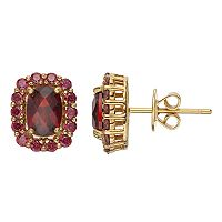 14k Gold Over Silver Garnet & Red Cubic Zirconia Halo Earrings