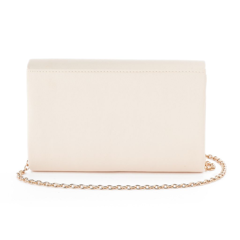 Lenore by La Regale Satin Flap Brooch Clutch