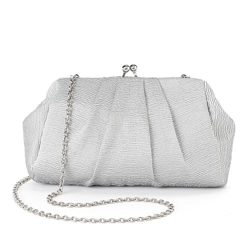 Lenore by La Regale Pleated Satin Jacquard Pouch Clutch