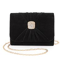 Lenore by La Regale Ruched Velvet Brooch Clutch