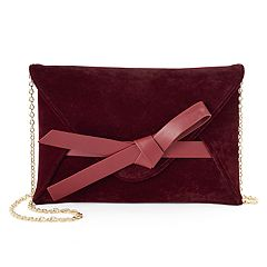 Lenore by La Regale Bow Accent Velvet Envelope Clutch