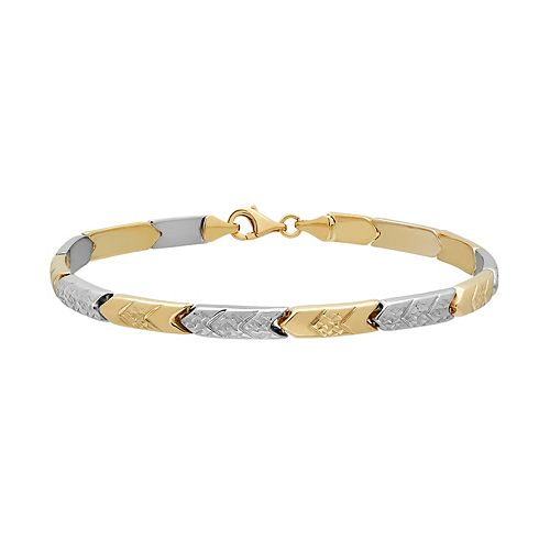 Everlasting Gold Two Tone 10k Gold Chevron Stampato Bracelet