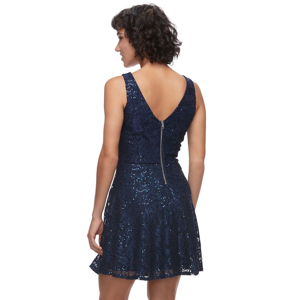 Juniors' Speechless Sequin Lace Skater Dress
