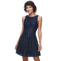 Juniors' Speechless Sequin Lace Skater Dress