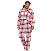 Plus Size Croft & Barrow® Pajamas: Flannel Top & Pants 2-Piece PJ Set
