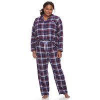 Plus Size Croft & Barrow® Pajamas: Flannel Top & Pants 2-Piece PJ Set