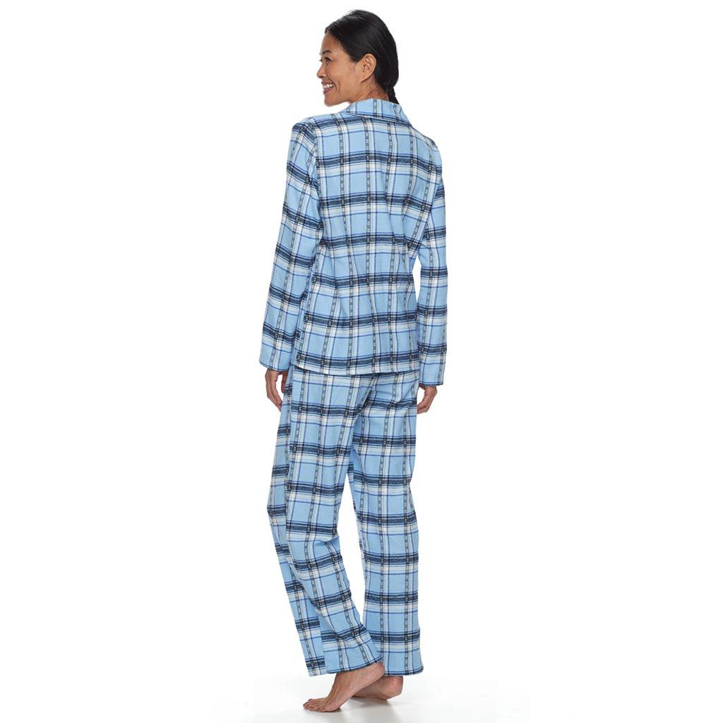 Petite Croft & Barrow® Pajamas: Flannel Top & Pants 2-Piece PJ Set
