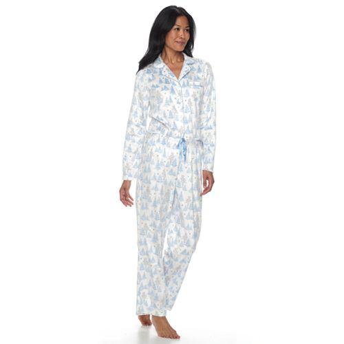 Women's Croft & Barrow® Pajamas: Fleece Top & Pants 2-Piece PJ Set
