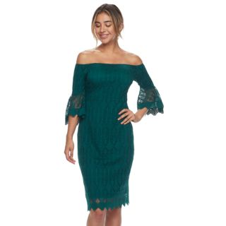 Women's Sharagano Off-the-Shoulder Lace Overlay Midi Dress