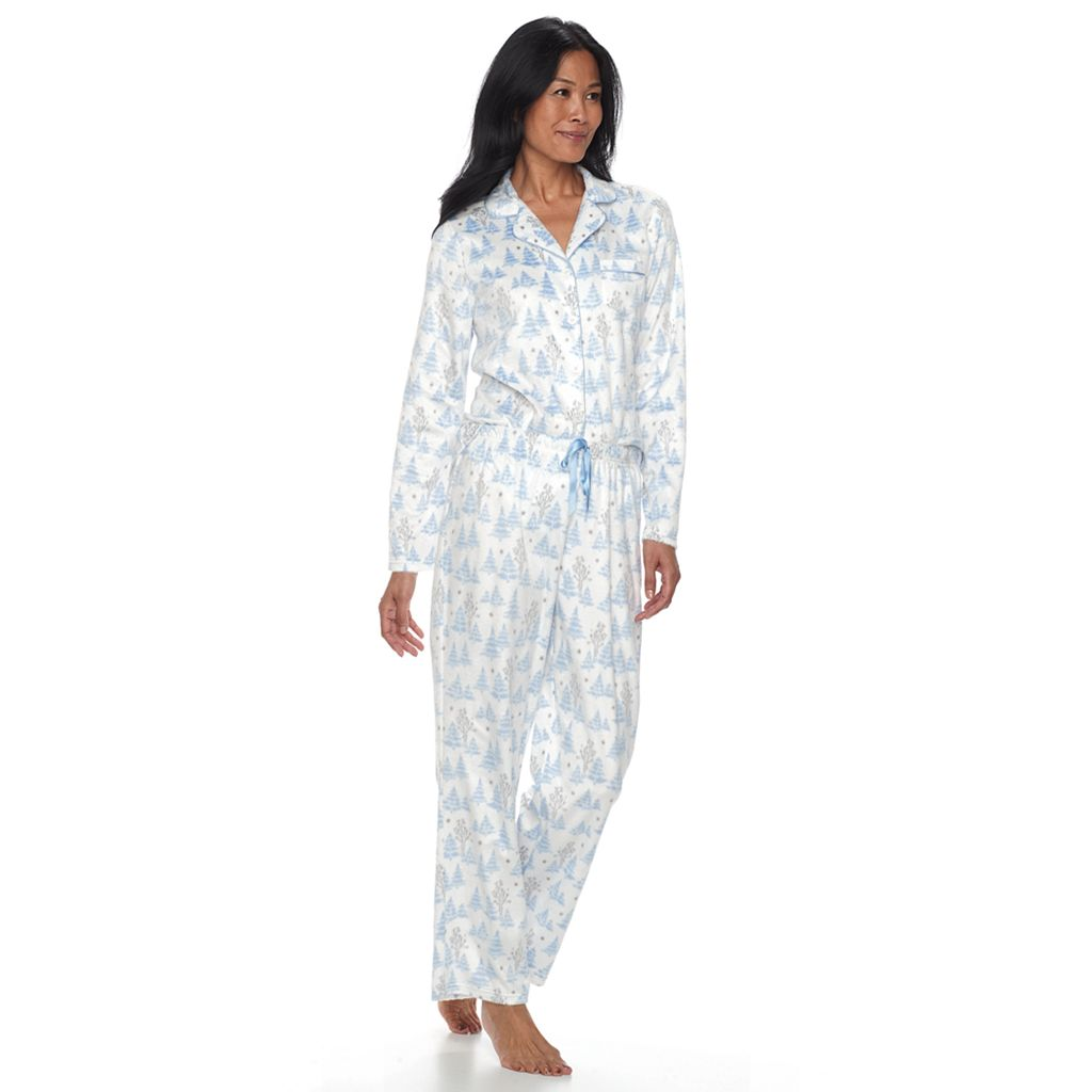 Petite Croft & Barrow® Pajamas: Fleece Top & Pants 2-Piece PJ Set