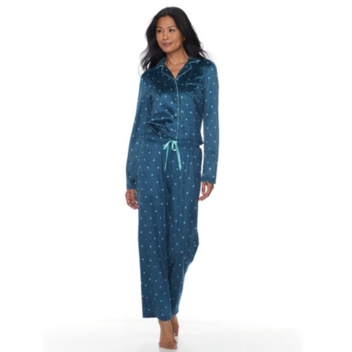 Petite Croft & Barrow® Pajamas: Fleece Top & Pants 2-Piece PJ Set