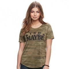 Juniors' 'Kinda, Maybe' Camo Graphic Tee