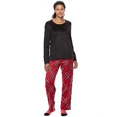 Women's Croft & Barrow® Pajamas: Scoopneck Top, Pants & Socks 3 pc PJ Set