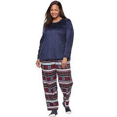Plus Size Croft & Barrow® Pajamas: Scoopneck Top, Pants & Socks 3 pc PJ Set