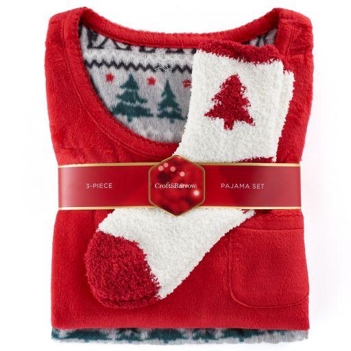 Petite Croft & Barrow® Pajamas: Scoopneck Top, Pants & Socks 3-Piece PJ Set