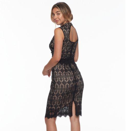 Women's Sharagano Lace Overlay Mockneck Dress