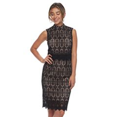 Women's Sharagano Lace Overlay Mockneck Dress