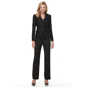 Women's Le Suit Chevron Suit Jacket & Pants Set