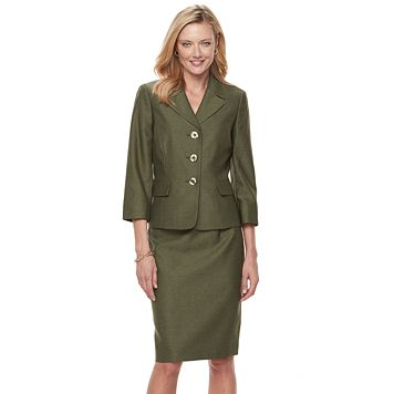Women's Le Suit Melange Suit Jacket & Skirt Set