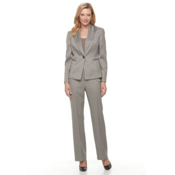 Women's Le Suit Herringbone Suit Jacket & Pants Set