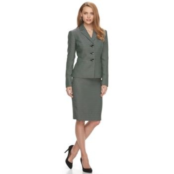 Women's Le Suit Tweed 3-Button Skirt Suit