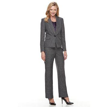 Women's Le Suit Plaid Melange Suit Jacket, Cami & Pants Set