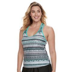 Plus Size ZeroXposur Printed Ladder-Back Tankini Top